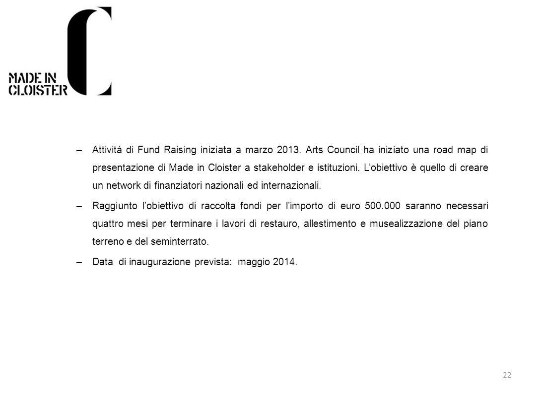 Data di inaugurazione prevista: maggio 2014.