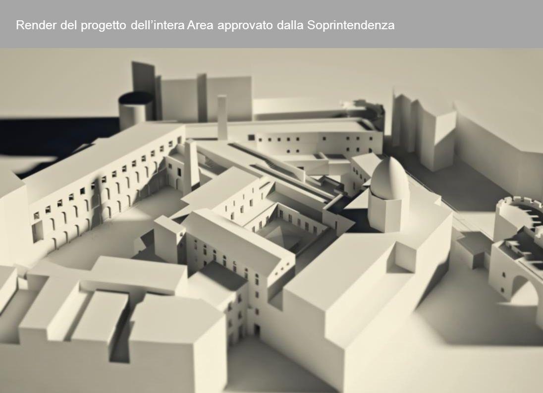 Render del progetto dell'intera Area approvato dalla Soprintendenza