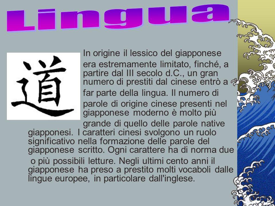 Lingua In origine il lessico del giapponese.