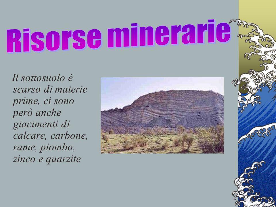 Risorse minerarie Il sottosuolo è scarso di materie prime, ci sono però anche giacimenti di calcare, carbone, rame, piombo, zinco e quarzite.