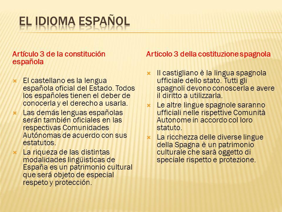 EL IDIOMA ESPAÑOL Artículo 3 de la constitución española