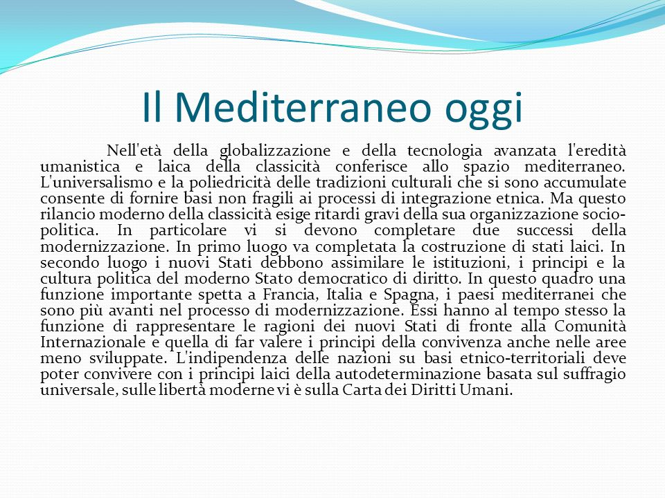 Il Mediterraneo oggi