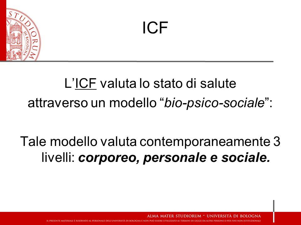 ICF L'ICF valuta lo stato di salute