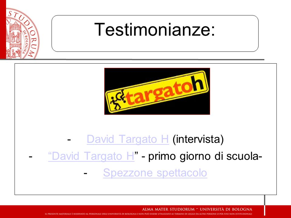 Testimonianze: David Targato H (intervista)