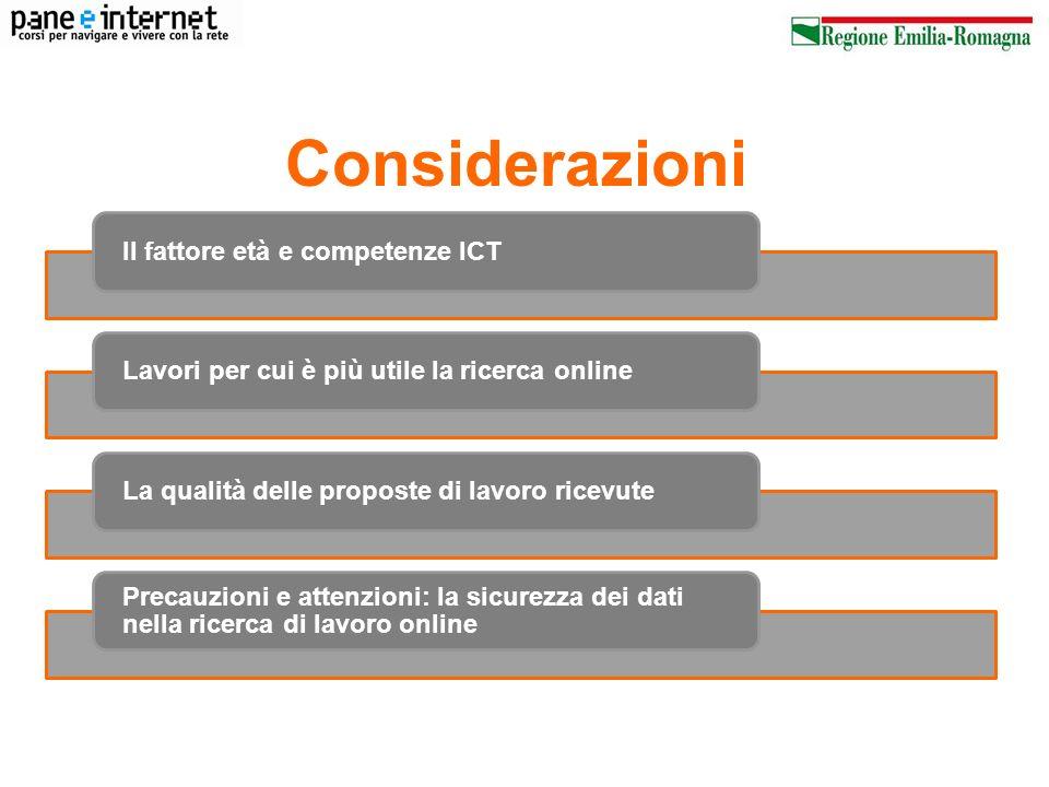 Considerazioni Il fattore età e competenze ICT