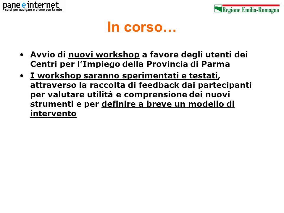 In corso… Avvio di nuovi workshop a favore degli utenti dei Centri per l'Impiego della Provincia di Parma.
