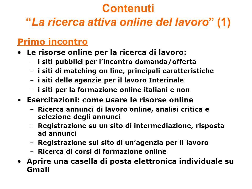 Contenuti La ricerca attiva online del lavoro (1)