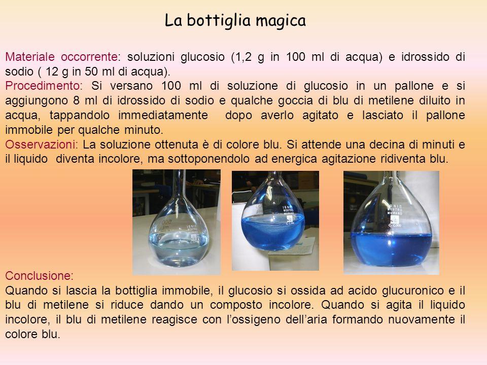 La bottiglia magica Materiale occorrente: soluzioni glucosio (1,2 g in 100 ml di acqua) e idrossido di sodio ( 12 g in 50 ml di acqua).