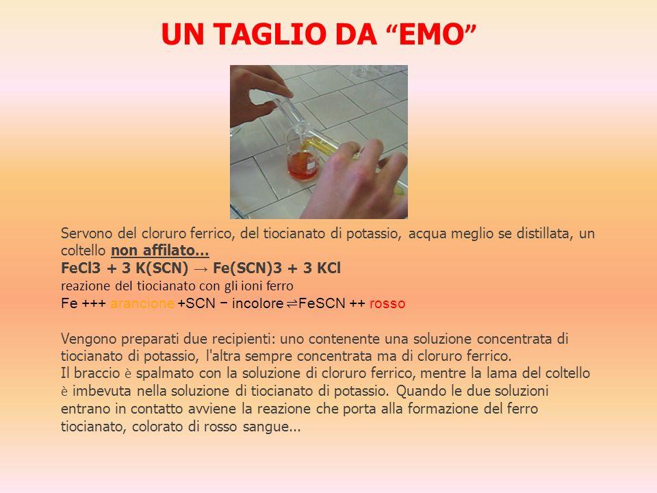 UN TAGLIO DA EMO Servono del cloruro ferrico, del tiocianato di potassio, acqua meglio se distillata, un coltello non affilato...