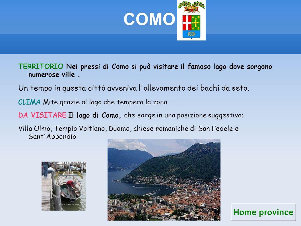 COMO TERRITORIO Nei pressi di Como si può visitare il famoso lago dove sorgono numerose ville .