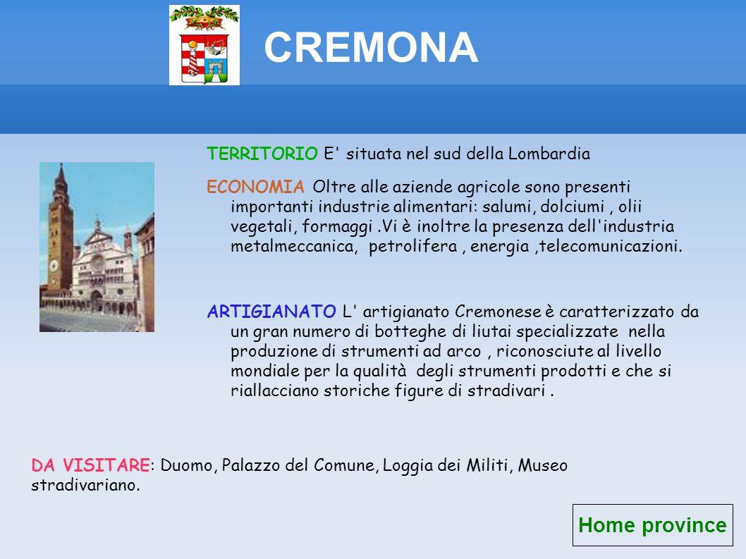 CREMONA Home province TERRITORIO E situata nel sud della Lombardia