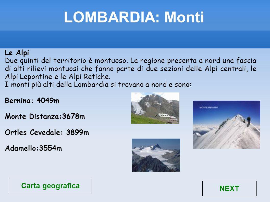 LOMBARDIA: Monti Carta geografica NEXT Le Alpi