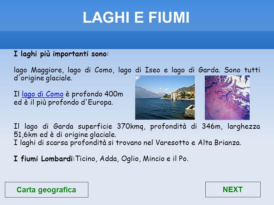 LAGHI E FIUMI Carta geografica NEXT I laghi più importanti sono: