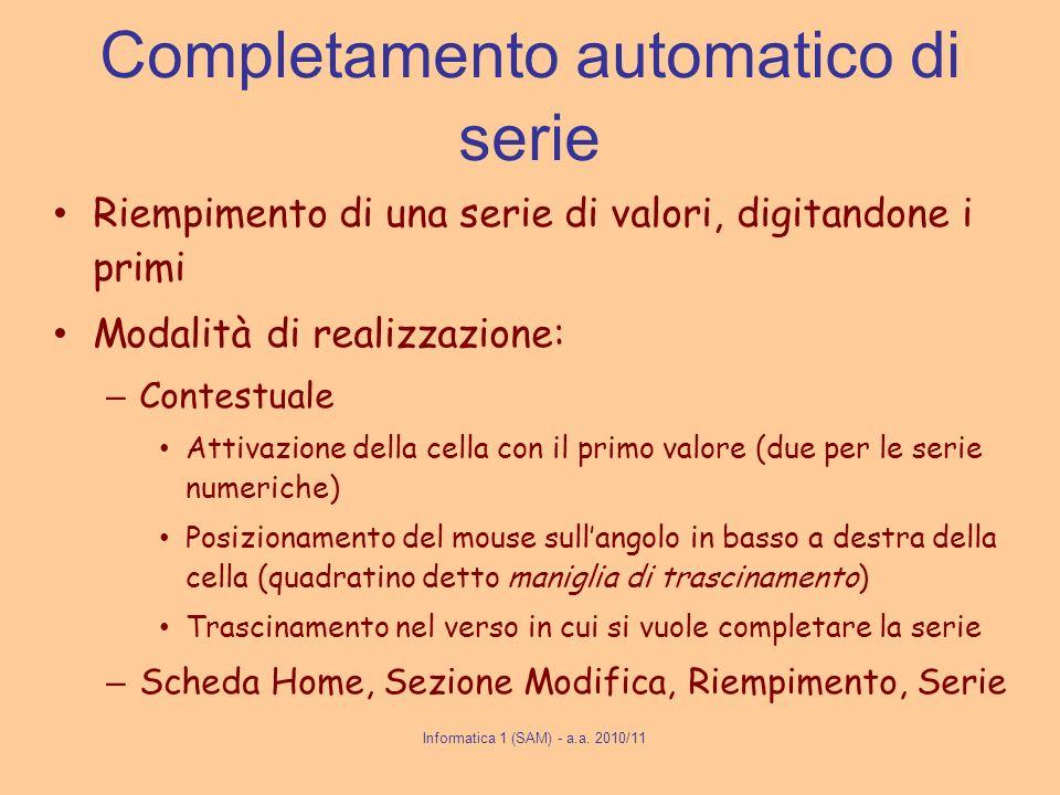 Completamento automatico di serie