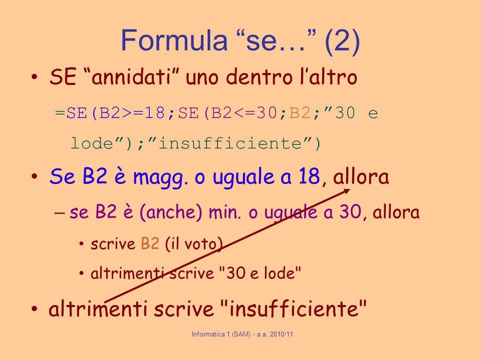 Informatica 1 (SAM) - a.a. 2010/11