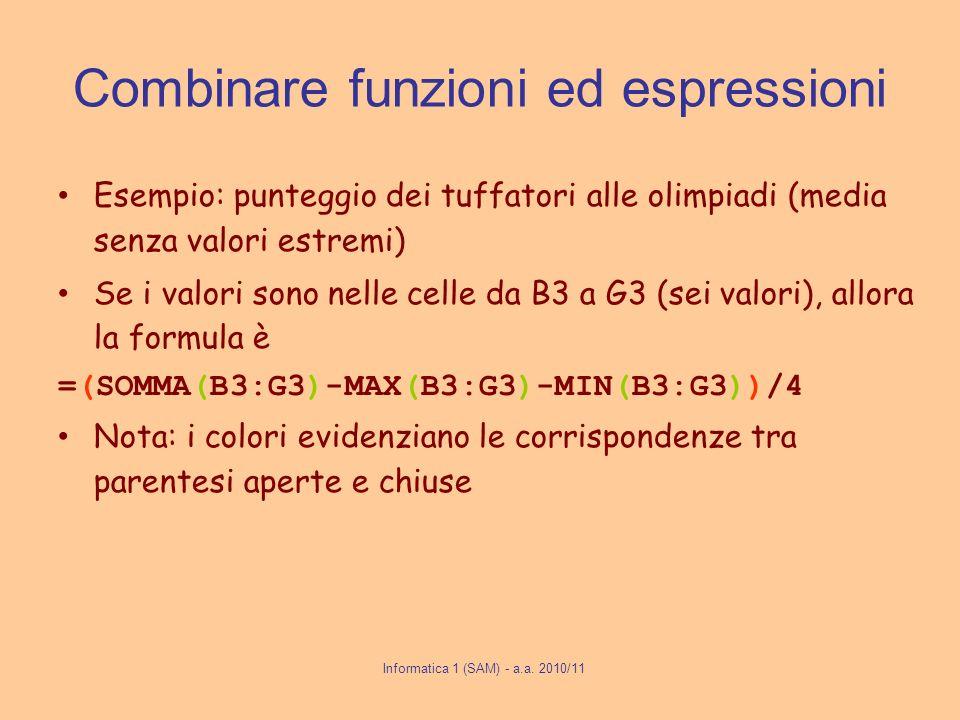 Combinare funzioni ed espressioni