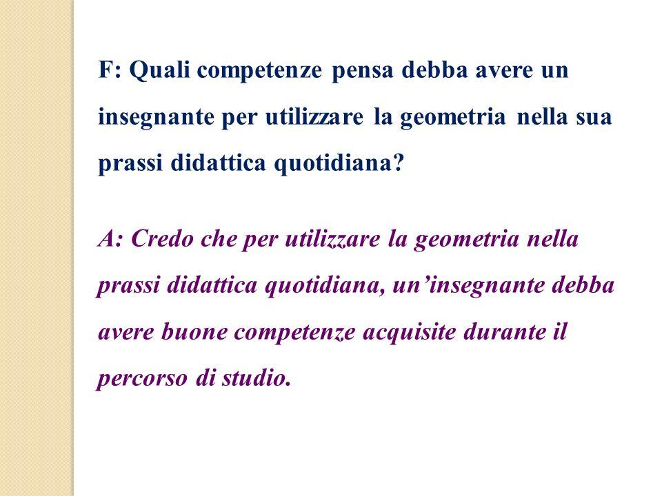 F: Quali competenze pensa debba avere un insegnante per utilizzare la geometria nella sua prassi didattica quotidiana