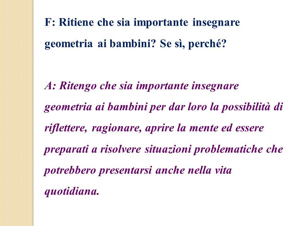 F: Ritiene che sia importante insegnare geometria ai bambini