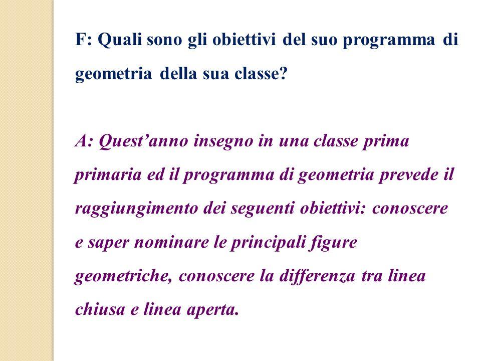 F: Quali sono gli obiettivi del suo programma di geometria della sua classe