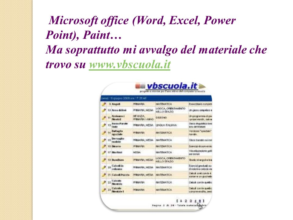 Microsoft office (Word, Excel, Power Point), Paint…