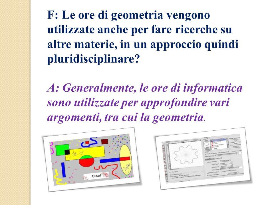 F: Le ore di geometria vengono utilizzate anche per fare ricerche su altre materie, in un approccio quindi pluridisciplinare