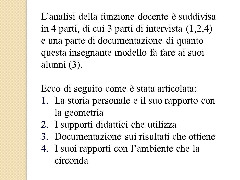 L'analisi della funzione docente è suddivisa in 4 parti, di cui 3 parti di intervista (1,2,4) e una parte di documentazione di quanto questa insegnante modello fa fare ai suoi alunni (3).