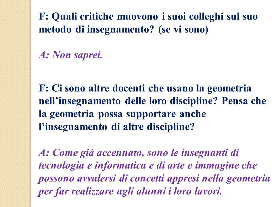 F: Quali critiche muovono i suoi colleghi sul suo metodo di insegnamento (se vi sono)