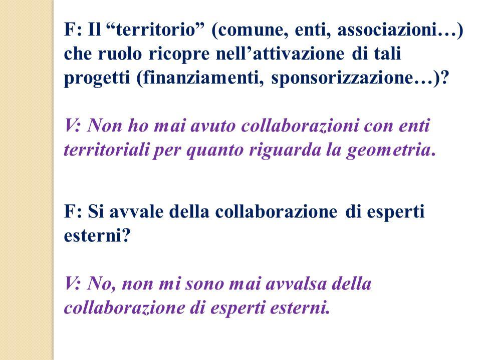 F: Il territorio (comune, enti, associazioni…) che ruolo ricopre nell'attivazione di tali progetti (finanziamenti, sponsorizzazione…)