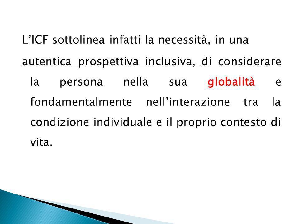 L'ICF sottolinea infatti la necessità, in una autentica prospettiva inclusiva, di considerare la persona nella sua globalità e fondamentalmente nell'interazione tra la condizione individuale e il proprio contesto di vita.