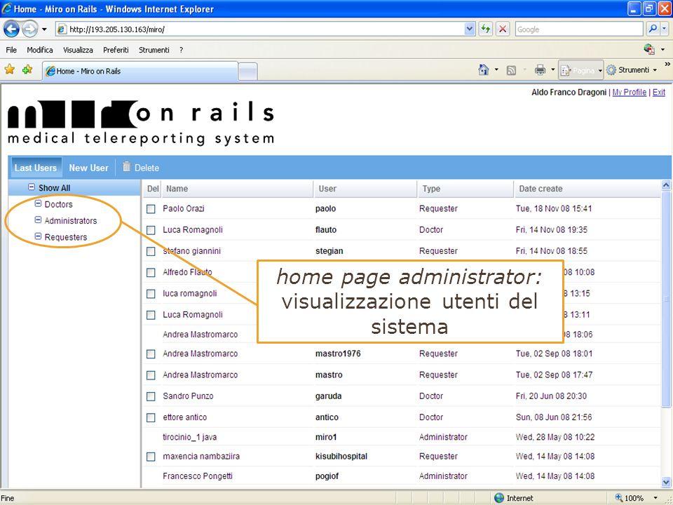 home page administrator: visualizzazione utenti del sistema