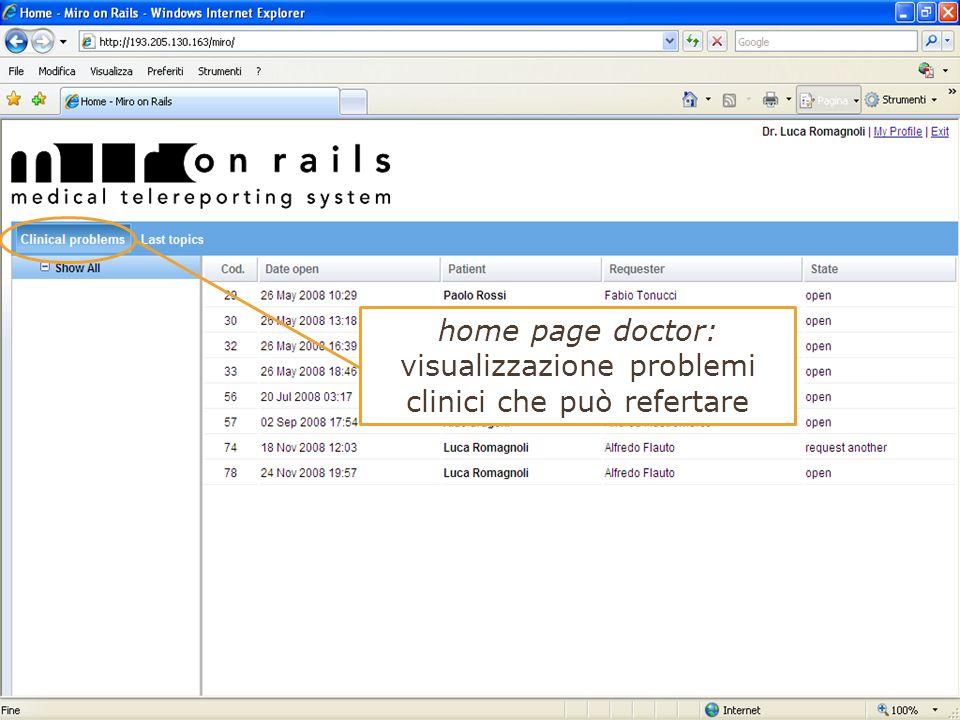 home page doctor: visualizzazione problemi clinici che può refertare