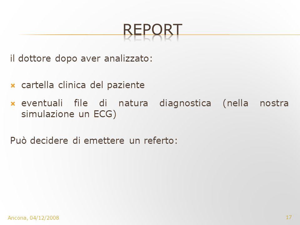 report il dottore dopo aver analizzato: cartella clinica del paziente