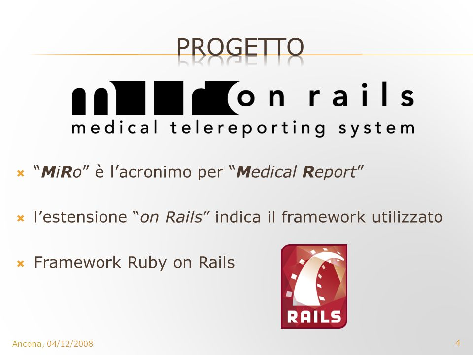 PROGETTO MiRo è l'acronimo per Medical Report