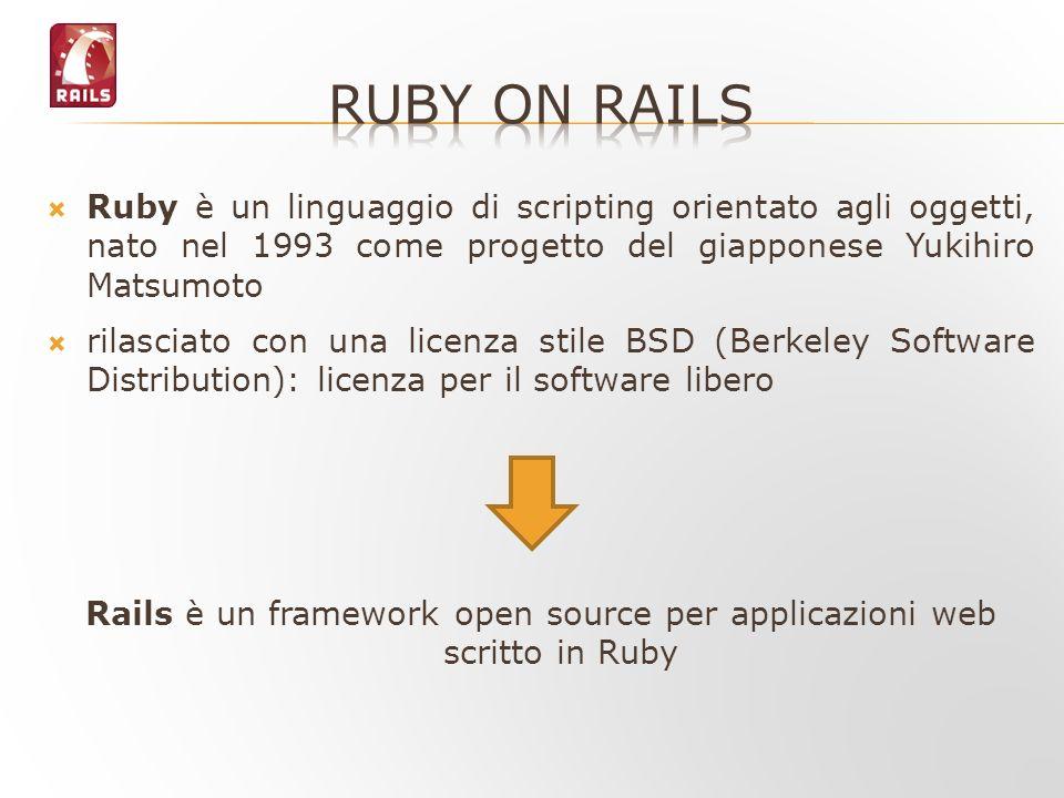 Rails è un framework open source per applicazioni web scritto in Ruby