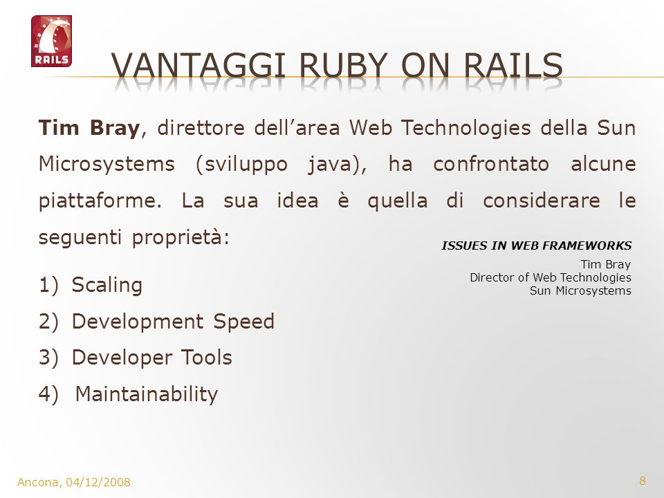 vantaggi ruby on rails