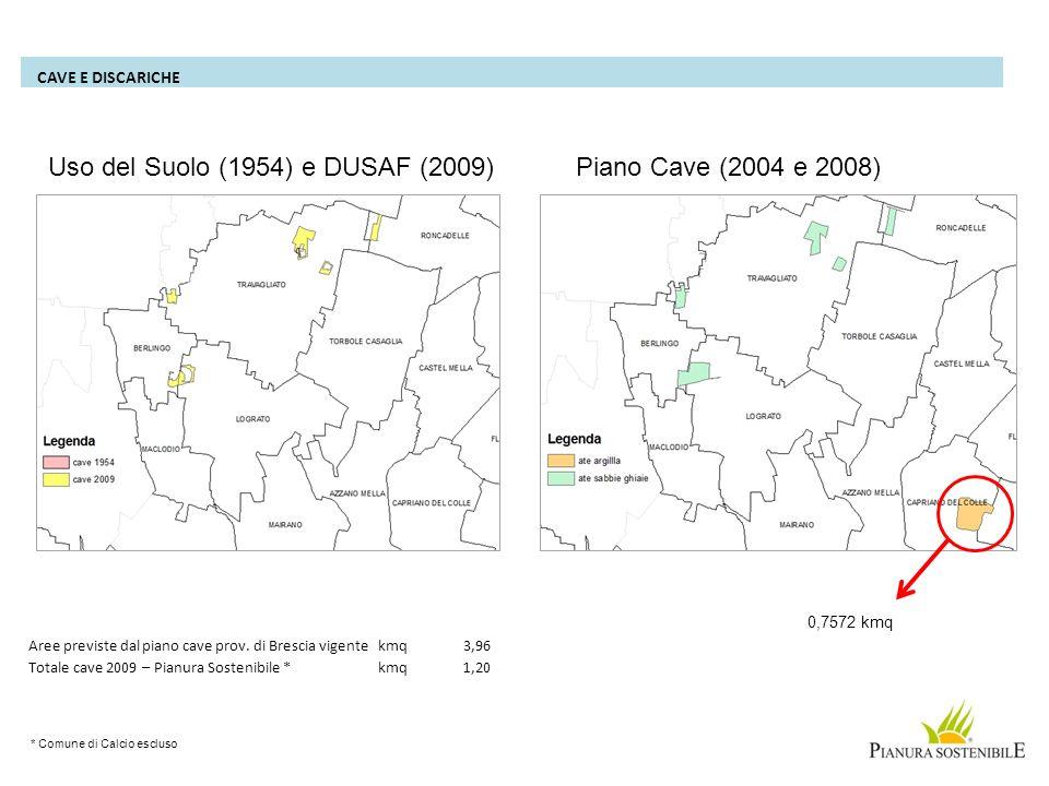 Uso del Suolo (1954) e DUSAF (2009) Piano Cave (2004 e 2008)