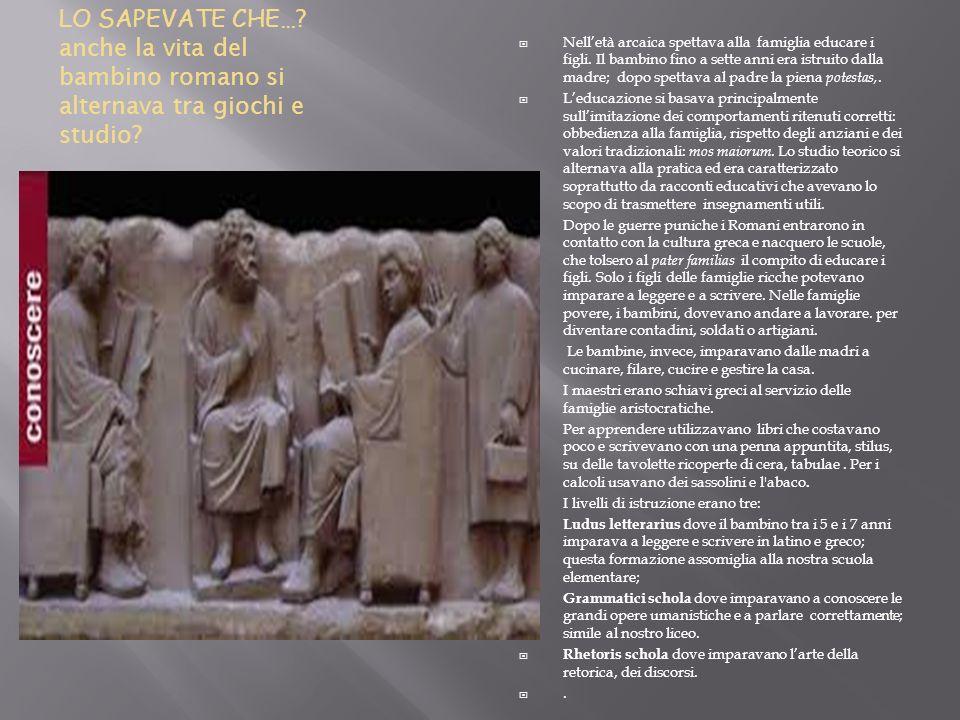 LO SAPEVATE CHE… anche la vita del bambino romano si alternava tra giochi e studio