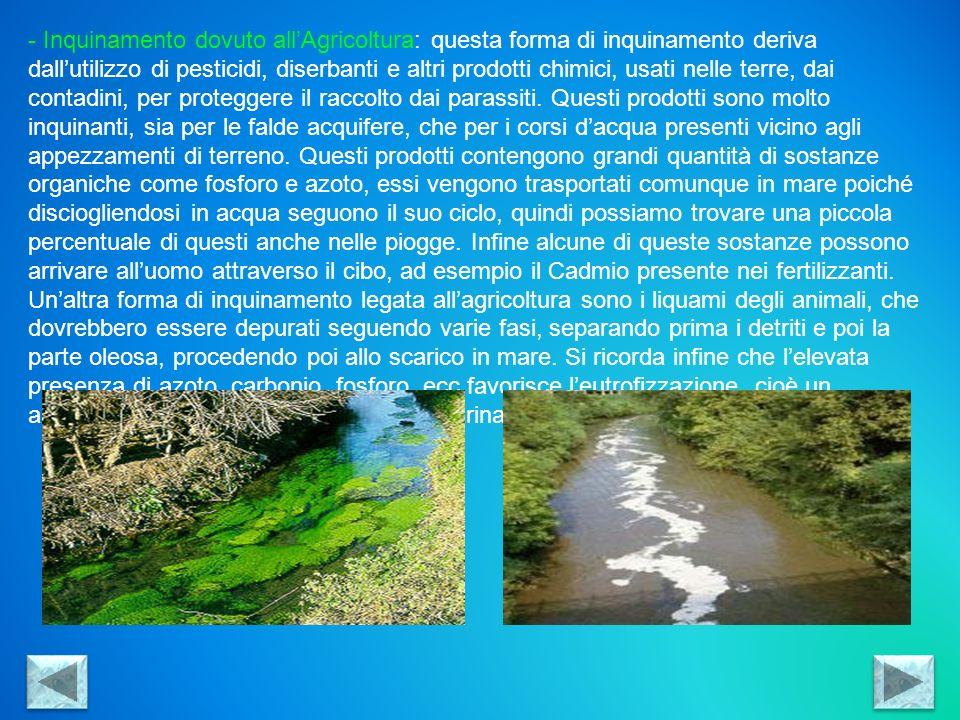 Inquinamento dovuto all'Agricoltura: questa forma di inquinamento deriva dall'utilizzo di pesticidi, diserbanti e altri prodotti chimici, usati nelle terre, dai contadini, per proteggere il raccolto dai parassiti. Questi prodotti sono molto inquinanti, sia per le falde acquifere, che per i corsi d'acqua presenti vicino agli appezzamenti di terreno. Questi prodotti contengono grandi quantità di sostanze organiche come fosforo e azoto, essi vengono trasportati comunque in mare poiché disciogliendosi in acqua seguono il suo ciclo, quindi possiamo trovare una piccola percentuale di questi anche nelle piogge. Infine alcune di queste sostanze possono arrivare all'uomo attraverso il cibo, ad esempio il Cadmio presente nei fertilizzanti.