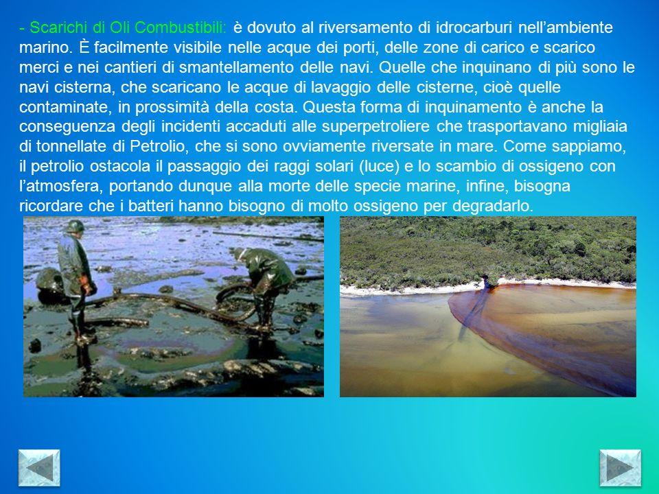 Scarichi di Oli Combustibili: è dovuto al riversamento di idrocarburi nell'ambiente marino.