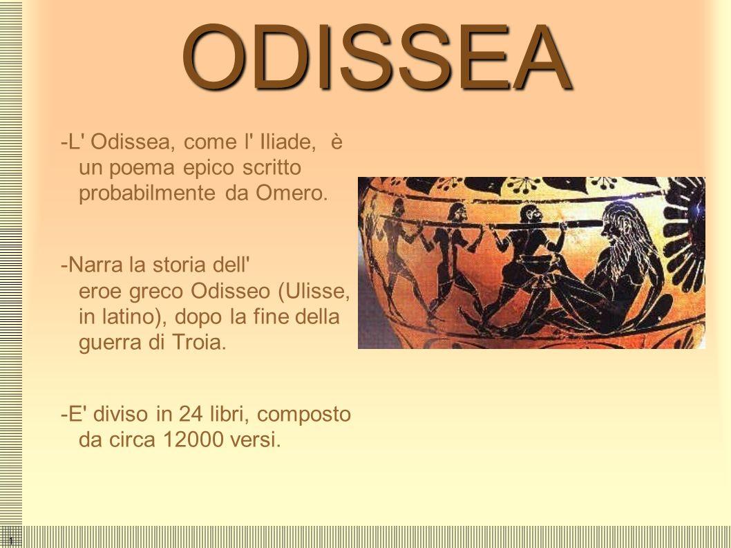 ODISSEA-L Odissea, come l Iliade, è un poema epico scritto probabilmente da Omero.