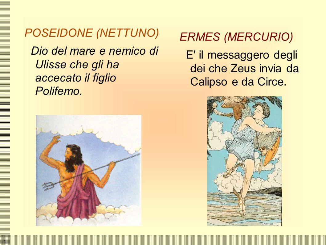 POSEIDONE (NETTUNO) Dio del mare e nemico di Ulisse che gli ha accecato il figlio Polifemo. ERMES (MERCURIO)