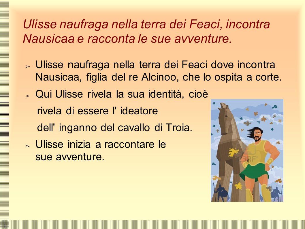 Ulisse naufraga nella terra dei Feaci, incontra Nausicaa e racconta le sue avventure.