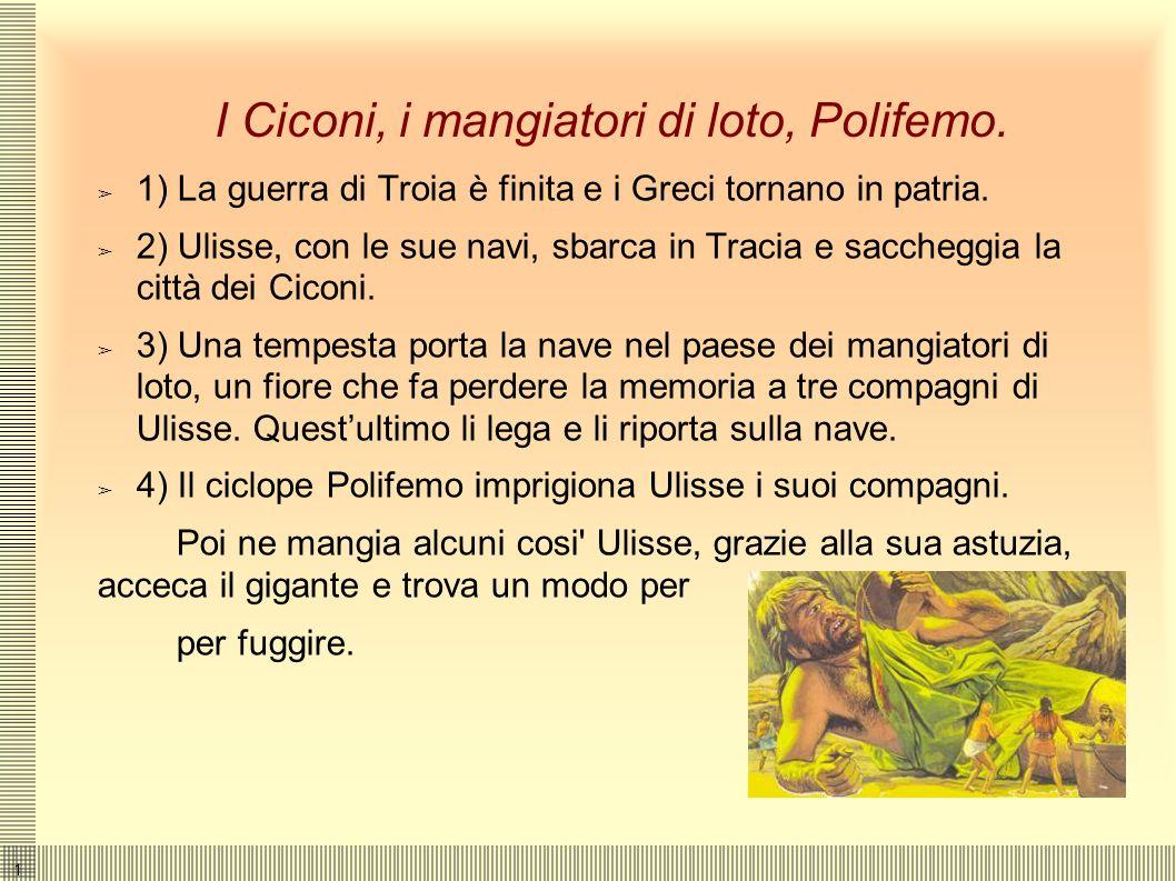 I Ciconi, i mangiatori di loto, Polifemo.