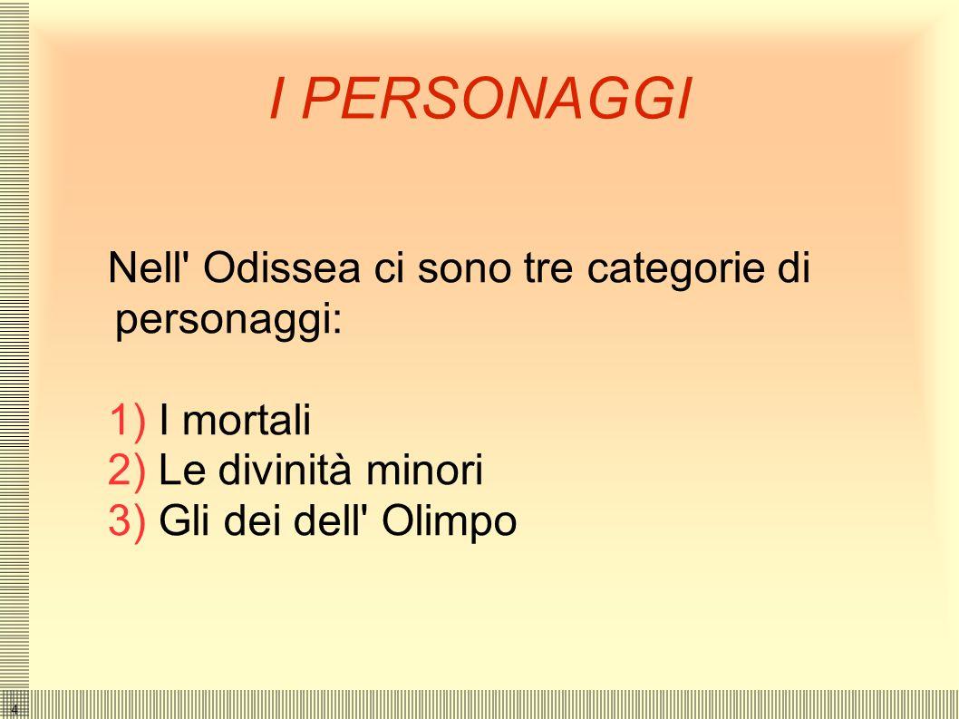 I PERSONAGGI Nell Odissea ci sono tre categorie di personaggi: