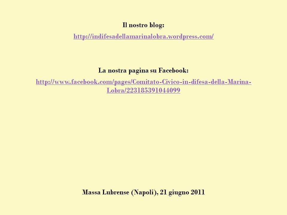 La nostra pagina su Facebook: Massa Lubrense (Napoli), 21 giugno 2011