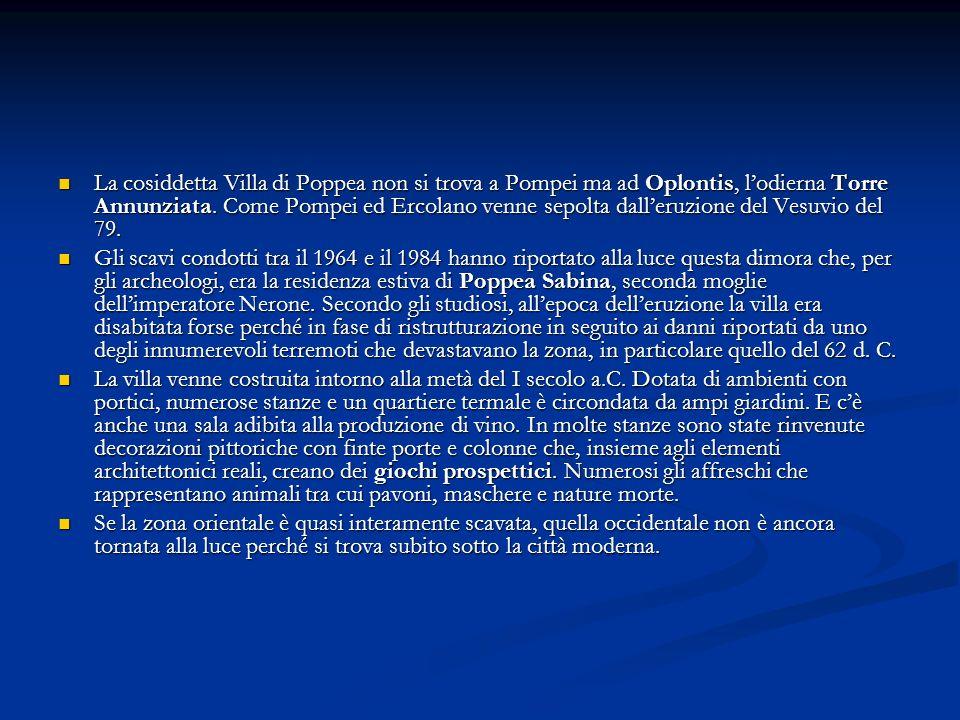 La cosiddetta Villa di Poppea non si trova a Pompei ma ad Oplontis, l'odierna Torre Annunziata. Come Pompei ed Ercolano venne sepolta dall'eruzione del Vesuvio del 79.