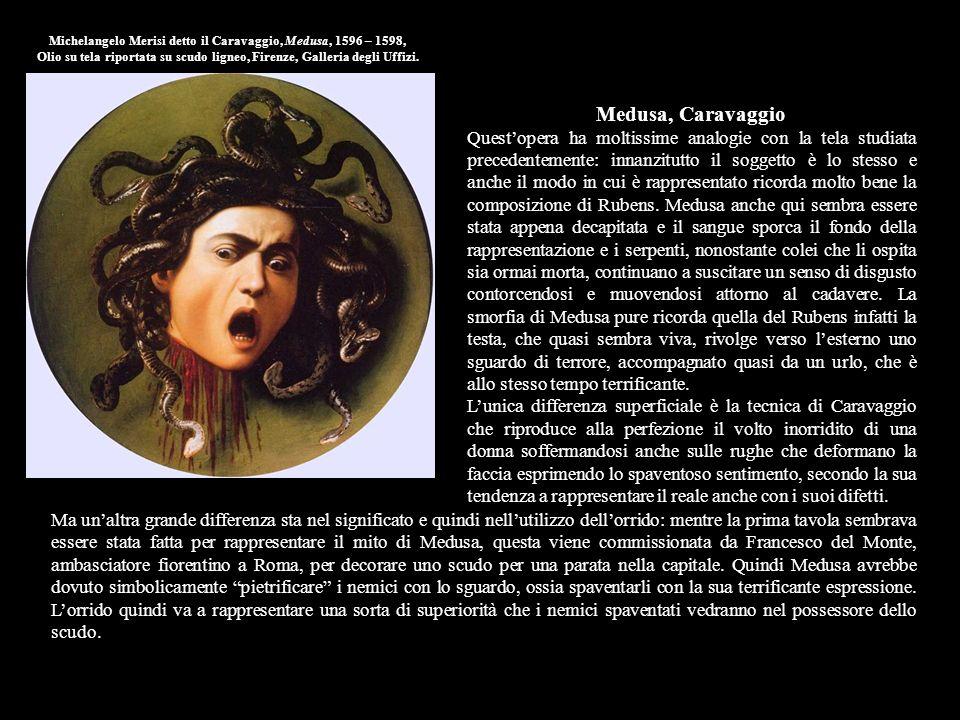 Michelangelo Merisi detto il Caravaggio, Medusa, 1596 – 1598, Olio su tela riportata su scudo ligneo, Firenze, Galleria degli Uffizi.