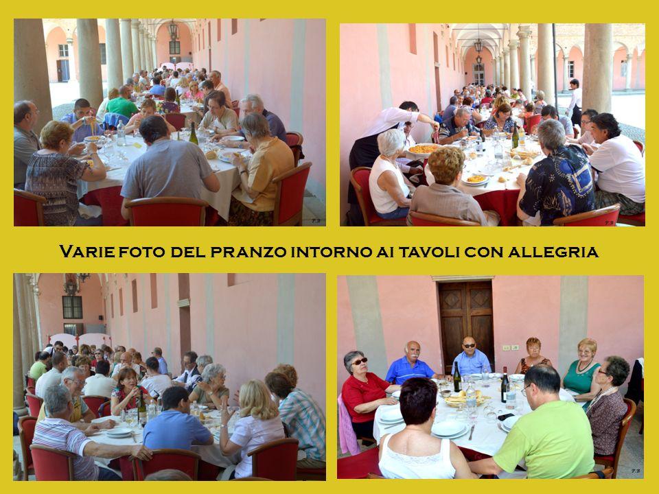 Varie foto del pranzo intorno ai tavoli con allegria