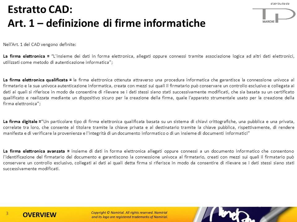 Estratto CAD: Art. 1 – definizione di firme informatiche
