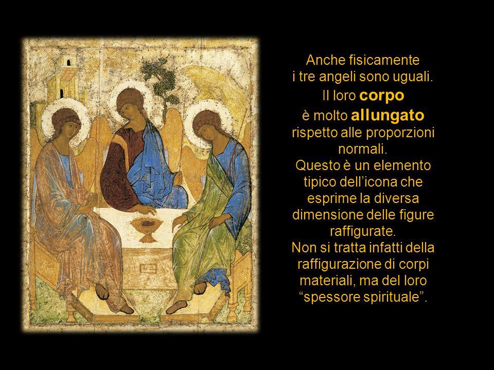 i tre angeli sono uguali. Il loro corpo è molto allungato